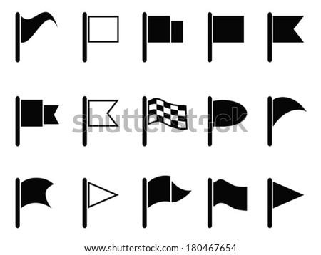 black flag icons - stock vector