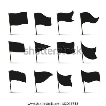 Black flag icons - stock vector