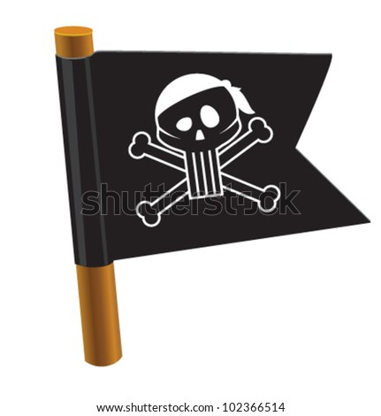 Black flag with pirate symbol. Vector illustration