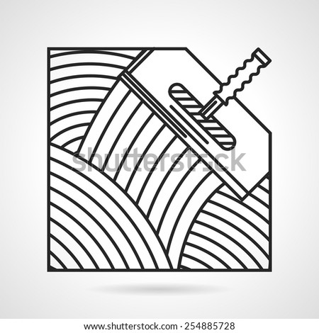 Black flat line construction spatula of trowel for tile on white background. - stock vector