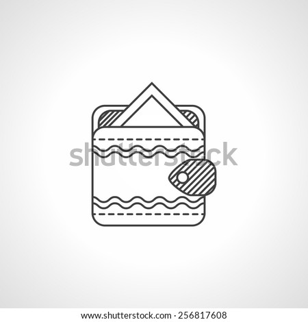 Black flat line handmade wallet with pay card on white background. - stock vector