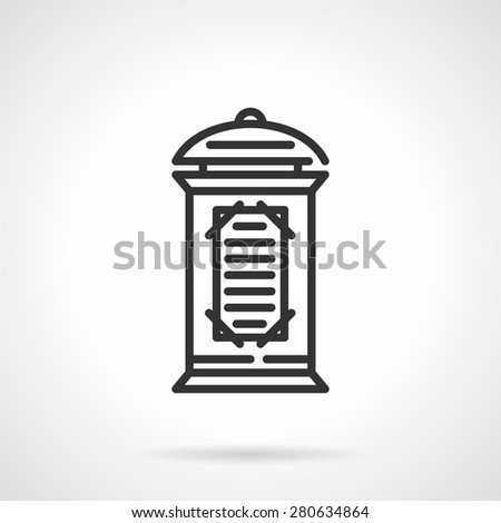 Black flat line vector icon for advertising column or pillar with informative poster and playbill on white background.  - stock vector