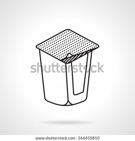 Black flat line vector icon for blank yogurt container on white background. Healthy snack - stock vector