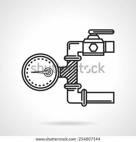 Black flat line vector icon for dial of manometer on pipeline on white background. - stock vector
