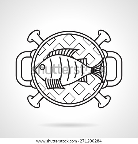Black flat line vector icon for fish on barbecue grill a top view on white background.