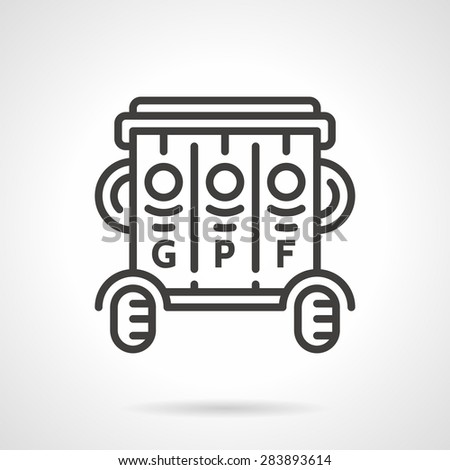 Black flat line vector icon for outdoors wheeled garbage segregation bin with sections for glass, paper or plastic and food or organic on white background. - stock vector