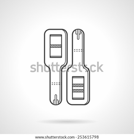 Black flat line vector icon for positive and negative pregnancy tests for obstetrics and gynecology on white background. - stock vector