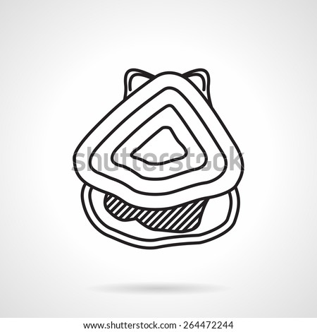 Black flat line vector icon for seafood menu, oyster a top view on white background. - stock vector