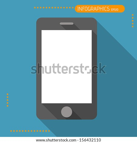 black flat mobile, flat concept - stock vector