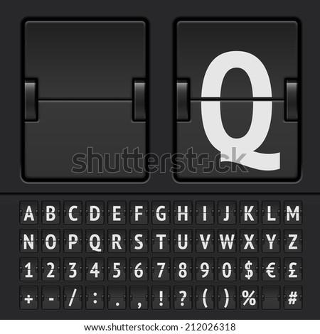 Black flip scoreboard alphabet, numbers and simbols. Vector EPS10 - stock vector