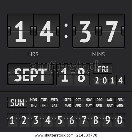 Black flip scoreboard digital timer with date and time of the week - stock vector