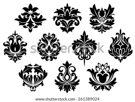 Black floral and arabesque elements in vintage style for embellishment and ornate