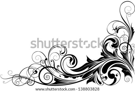 Black floral corner.Detailed swirl floral corner design in black - stock vector