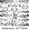 Black floral design elements - stock vector
