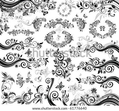 Black floral design elements - stock vector