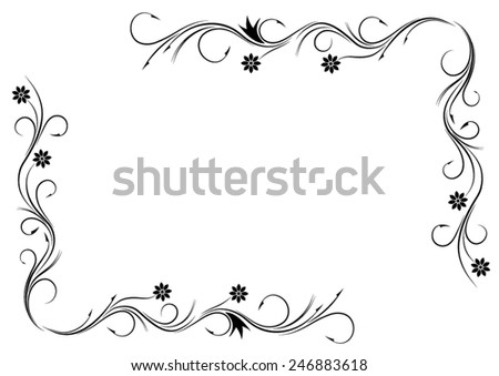 Black floral ornament on a white background. Frame. Vector. - stock vector