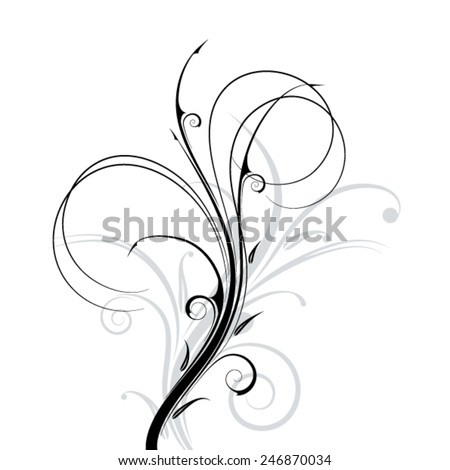 Black floral ornament on a white background. Vector illustration - stock vector