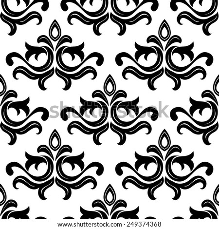 Black floral seamless pattern with curly floral elements - stock vector