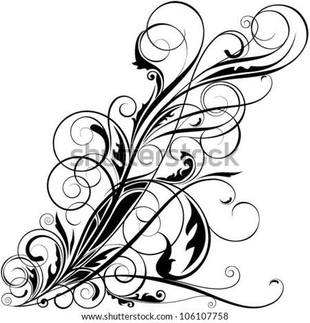 Black floral swirl design - stock vector