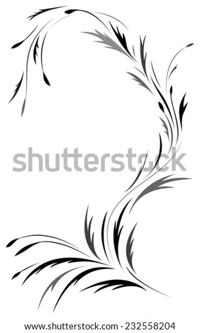 Black floral tattoo pattern - stock vector