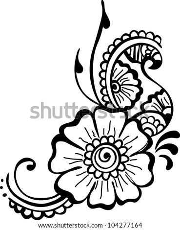 black flower. flower background - stock vector