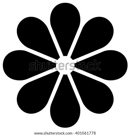 Black flower icon, vector. - stock vector