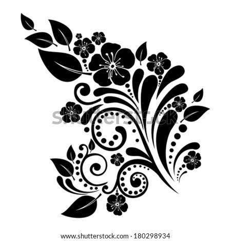 Black flower isolated on White background. Vector illustration  - stock vector