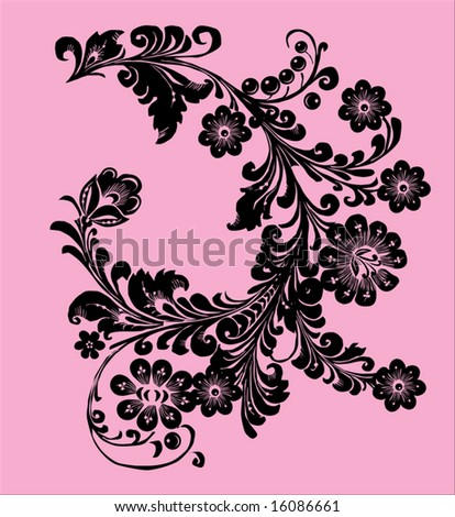 black flower ornament on pink background - stock vector