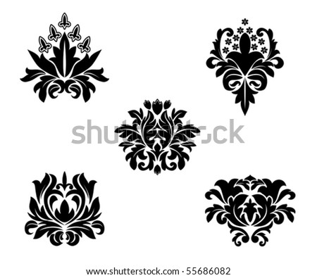 Black flower patterns. Jpeg version also available in gallery - stock vector