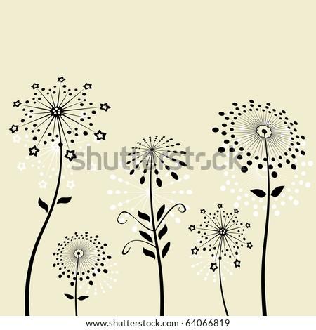 Black flowers silhouette dandelion vector - stock vector