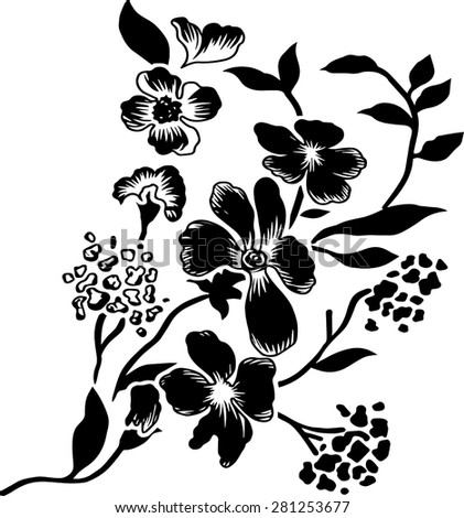 Black flowers, vector, background.