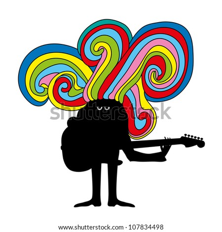 black folksinger is playing guitar with a big colorful hair - stock vector