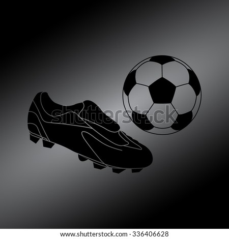 Black Football boots - vector illustration with ball - stock vector