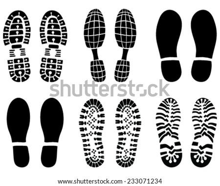 Black footprints, vector Illustration - stock vector