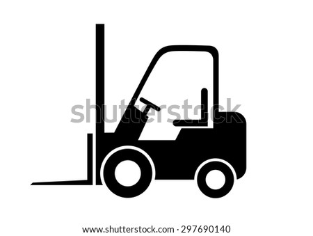 Black forklift truck on white background     - stock vector