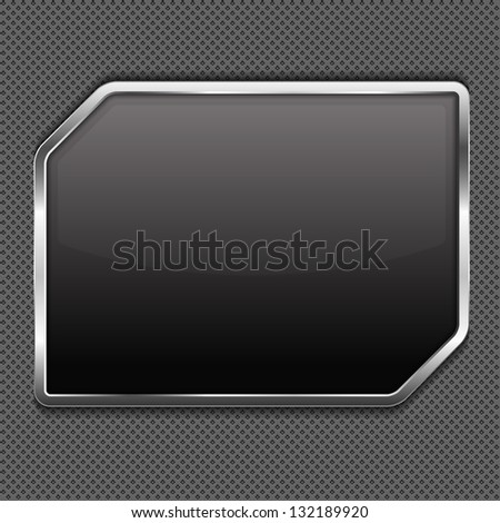 Black frame on a metal background, vector eps10 illustration - stock vector