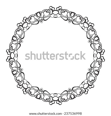 Black frame with ornamental border with hearts - stock vector