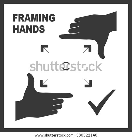 Black framing hands template with bold frame for photo design. Frame made from fingers. Vector perspective view illustration. - stock vector