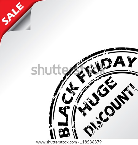 Black friday advertising with grunge seal on white background