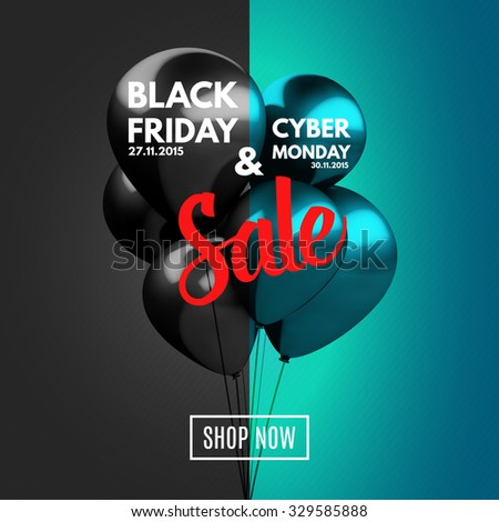 Black Friday and Cyber Monday Sale concept background. Vector Illustration EPS10. - stock vector