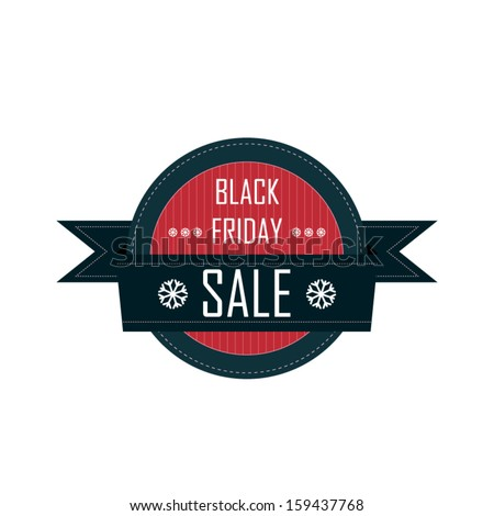 Black friday badge with ribbon and snowflakes suitable for sales promotion and advertising - stock vector