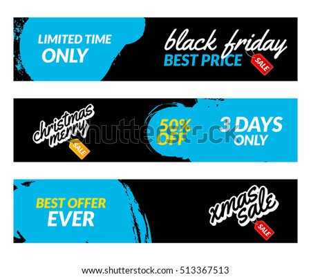 Black friday banners. Vector Sale web market design template. Black friday offer discount concept.