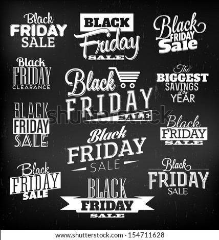 Black Friday Calligraphic Designs | Retro Style Elements | Vintage Ornaments | Sale, Clearance | Vector Set - stock vector