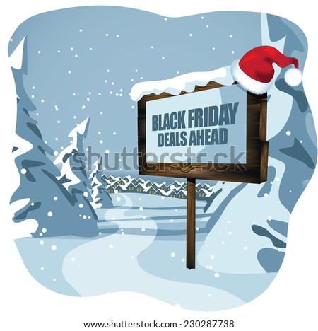 black Friday deals ahead sign with Santa hat EPS 10 vector illustration - stock vector