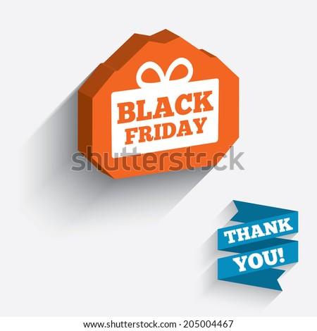 Black friday gift sign icon. Sale symbol. Special offer label. White icon on orange 3D piece of wall. Carved in stone with long flat shadow. Vector
