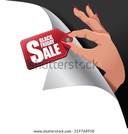 Black Friday hand holding sale tag page curl background Eps10 vector  royalty free stock illustration for greeting card, ad, promotion, poster, flier, blog, article, social media, marketing