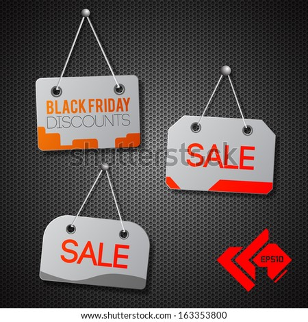 black friday hanging signs set. Vector Illustration, eps10, contains transparencies. - stock vector