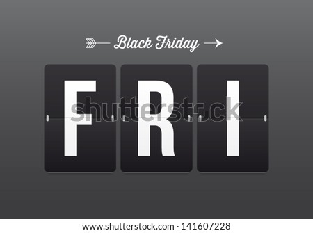 Black friday, mechanical panel letters. Typography, font, type vector vintage retro. - stock vector
