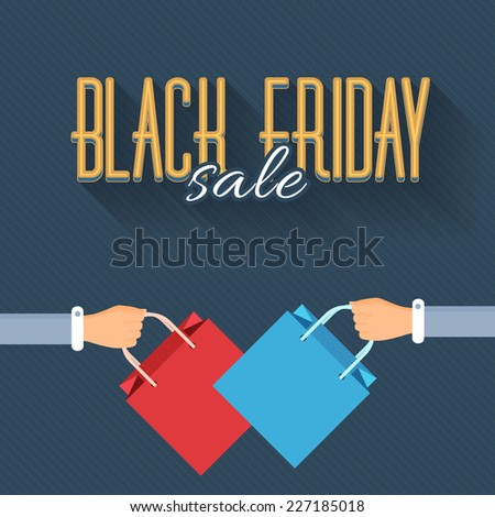 Black Friday Retro Flat Style Sale Poster, Flyer, Advertising Template  - stock vector