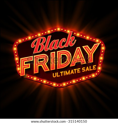 Black Friday retro light frame. Vector illustration - stock vector